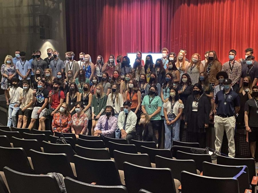 Seniors who were awarded the California State Seal of Biliteracy with the PVHS World Language teachers in the Center for the Arts on May 26.