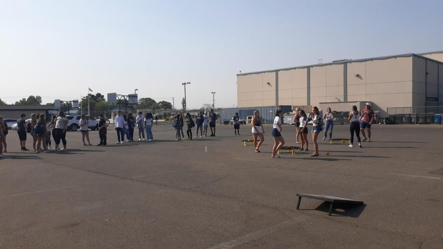 Many new PV students came to the Freshmen Tailgate in September to play games and eat burgers!